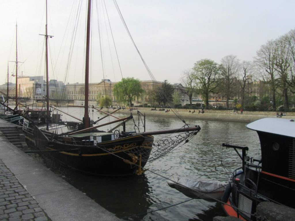 """sailboat parked at the Seine in Paris"""