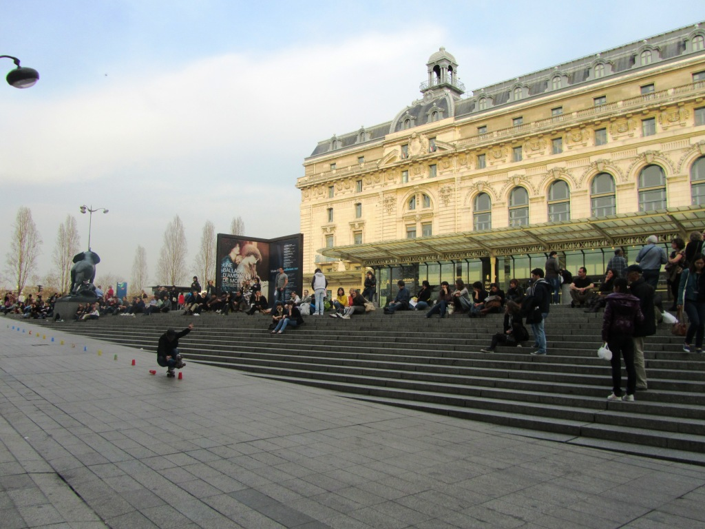 """Skater in front of Musee d'Orsay on the Left Bank of Paris"""