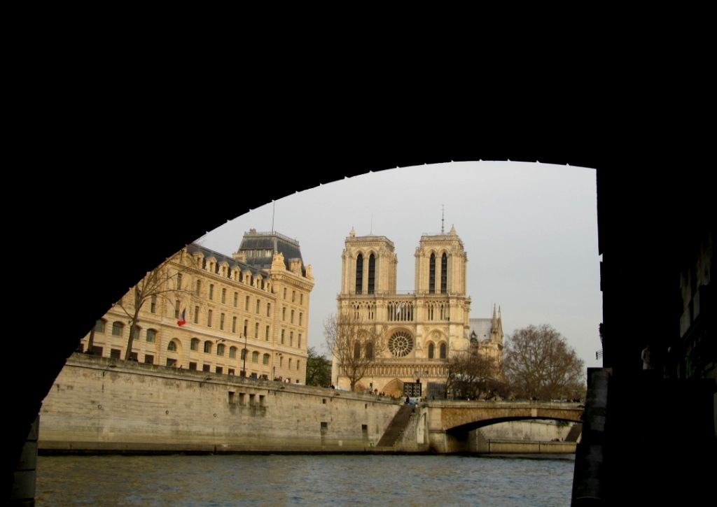 """Cathedral of Notre Dame in Paris seen from the River Seine"""