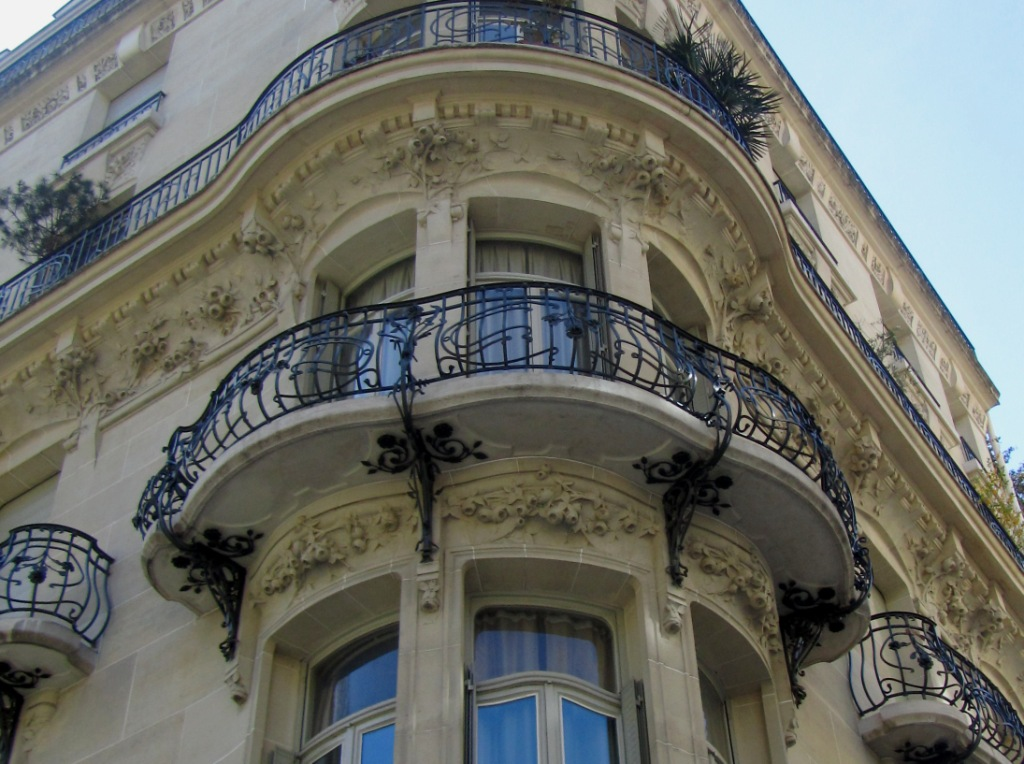 """detail of facade of Paris rue messine building used in film Belle de Jour"""